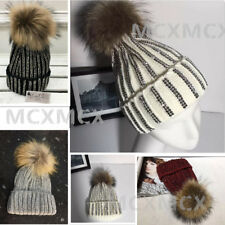 New Ribbed Studded Diamante Knitted Beanie Pom Pom Hat Large Fur Bobble Hats