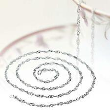 Fashion Pure Solid 925 Sterling Silver Rope Chain Necklace with Lobster Clasp RT