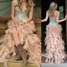 2017 Sweetheart Formal Bridal Gowns Beads Organza Country Hi-Lo Wedding Dresses