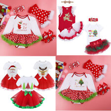 Girl My 1st Christmas Outfit Kids New Baby Tutu Dress Headband Set Party Clothes