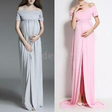 Womens Off Shoulder Spilt Front Maternity Gown Cotton Long Photography Dress