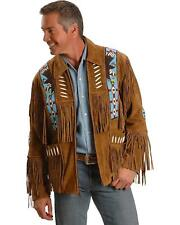 Liberty Wear Eagle Bead Fringed Suede Leather Jacket - 485-TOBACCO