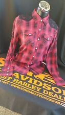 Harley-Davidson® Womens Lace Plaid Red Long Sleeve Woven Shirt