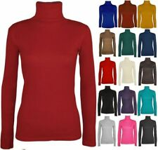 LADIES LONG SLEEVE POLO NECK ROLL NECK TOP WOMENS TURTLE NECK PLAIN Jumper
