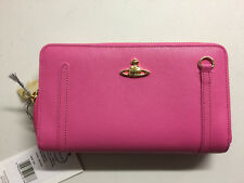 Vivienne Westwood pink saffiano leather purse new genuine made Italy