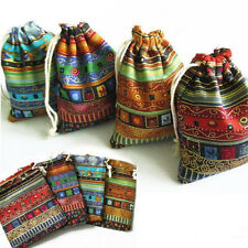 Wonderful 3x 9.5x12cm Linen Bunt Tribal Drawstring Jewellery Gift Bag Pouches sT