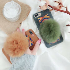 Korea Fashion Hairball Wristbands holder Tpu case Cover for iPhone X 6S 7 8 Plus
