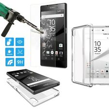 For Sony Xperia Thin Clear TPU Case Cover+Tempered Glass Screen Protector S003