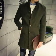 Army Men's Cashmere Wool Single Breasted Long Trench Coat Long Jacket Outwear