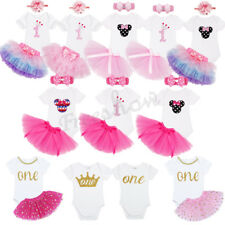 Infant Kids Baby Girls Princess Birthday Party Romper Tutu Skirt Headband Outfit
