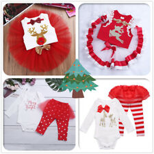 Baby Girls First Christmas Romper Pants Leggings Tutu Dress Outfit Xmas Clothes