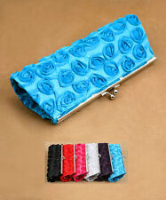 NWT ROSE EVENING HAND BAG CLUTCH COCKTAIL PURSE WALLET