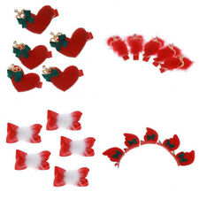 5Pcs New Year Festive Christmas Children Crystal Heart Bow Hairpin Hair Clip Red