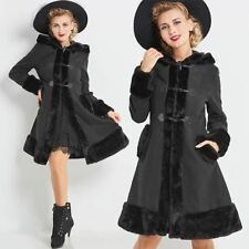 Vintage 1960s 50s Hooded Black Princess Cut Coat with Faux Fur and Corset Detail