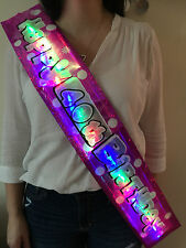 NEW!! Flashing LED SASH happy birthday banner 13th-100th party decorations
