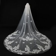 White Ivory Cathedral Wedding Veils 3M Lace Edge Bridal Veil With Comb 11145