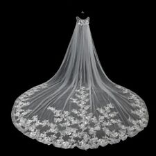 New White/Ivory Cathedral Wedding Veils 3M Lace Edge Bridal Veil No Comb 11147