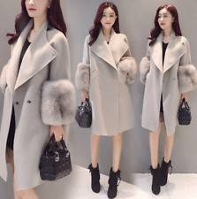 Women's Woolen Winter Coat Jacket Cardigan Faux Fur Thick Parka Trench  Outwear