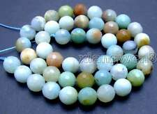 "SALE  8mm faceted Round Blue natural Amazonite gemstone beads strand 15""-los542"