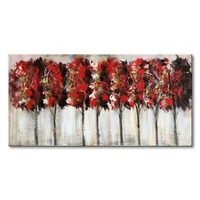 Red Tree Oil Painting Hand Painted Modern Canvas Wall Art Abstract Artwork Frame
