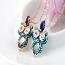 Shiny Wink Eye Owl Pendant Crystal ​Rhinestone Decor Owl Necklace Women Girl