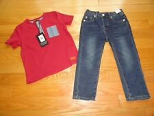 7 For All Mankind Baby Boys Outfit Jeans Knit Shirt Size 18M 24M Toddler NWT $59