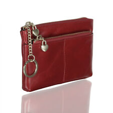 Oil Wax Genuine Leather Zip Around Pouch Coin Purse Case Key Chain Ring