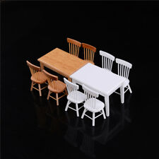 1:12 Wooden Kitchen Dining Table With 4 Chairs Set Barbie Dollhouse Furniture FH