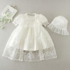 Embroidery Christening Baby Newborn Kid Girl Lace Baptism Dress Bonnet 3M 6M 12M