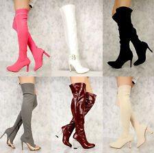 LOT BUCKLE ACCENT KNEE THIGH HIGH BOOTS FAUX LEATHER SOCK FRINGE DENIM SUEDE