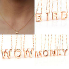 Women Gold Plated Initial Alphabet Letter Pendant Chain Necklace Jewelry*-*