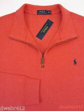 Men Polo Ralph Lauren BIG & TALL Half Zip French Rib Red Cotton Pullover Sweater