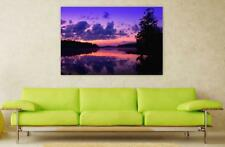 Canvas Poster Wall Art Print Decor Purple Dusk Dawn Water Sunset