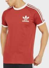 New Adidas Men's Trefoil Red California Tees Crew Neck Retro T Shirt UK S M L XL