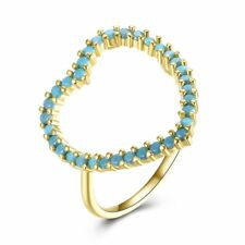 Jewelry Wedding Band Prong Setting Turquoise Romantic Heart-shaped Finger RingSM
