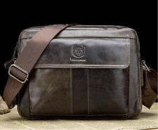 100% Genuine real Leather laptop Bag Messenger man handbag brown vintage Student