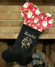 Personalized Black Embroidered Dog Breed Stocking, Now have Pit Bull Design