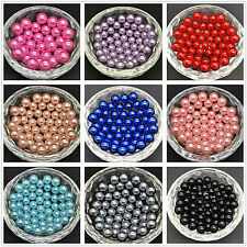 100x DIY 4mm 6mm 8mm No Hole Round Pearl Loose Acrylic Beads Jewelry Making*~*