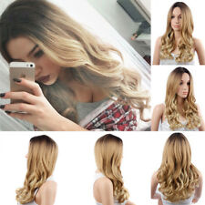 24'' Women Long Curly Blonde Wig Front None Lace Hair Cosplay Party Wig+Wig Cap
