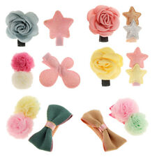 2Pcs Assorted Fabric Star Flower Hair Baby Girl Infant Kids Hair Clip Bows