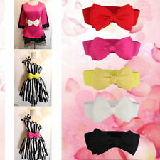 Fashion Women Bowknot Elastic Bow /Wide Stretch Buckle Waistband Waist Belt@G