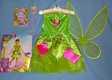 Disney TINKERBELL costume girls 7-8;fairy wings;hair set;necklace/bracelet;LOT
