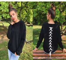Chic Long Sleeve Crew Neck Top Pullover Sweater Jumper Lace Up Back Sweatshirt