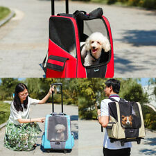 Large Dog Pet Trolley Carrier Stroller Travel Backpack Push Wheel Cage Luggage
