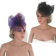 Purple Black Women Derby Feather Fascinator Hat Headband Wedding Party Headwear