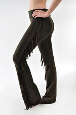 T-PARTY Brown Mineral Wash Fold Over Waist Western Fringe Yoga Workout Pants