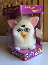 1998 White Furby with Pink Ears Brown Eyes Tiger Electronics NIB model #70-800