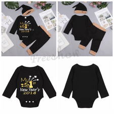 Newborn Baby Boys Girls My 1st New Year 2018 Infant Outfit Romper Pants Hat Set