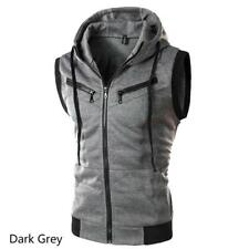 Men Stylish Autumn Jacket Hoodies Casual Sleeveless Vest Slim Fit Zipper Sweater