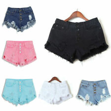 Women High Waisted Washed Ripped Short Mini Jeans Denim Hot Pants Shorts Summer